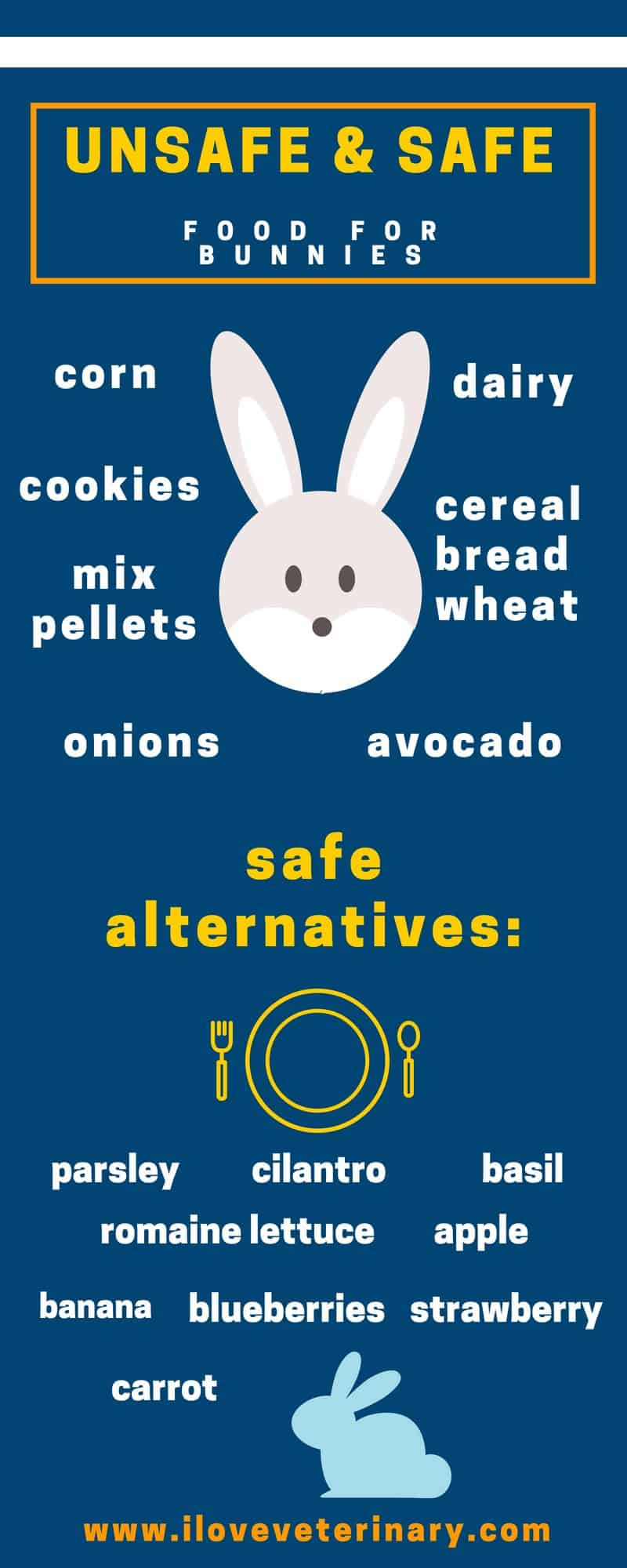 unsafe & safe food for bunnies infographic