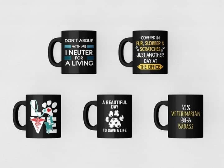 black coffee mugs, cups, veterinary designs