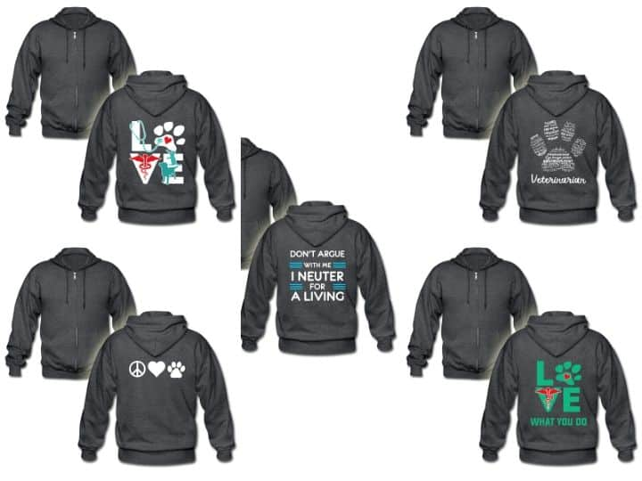 ZIP hoodies with veterinary designs