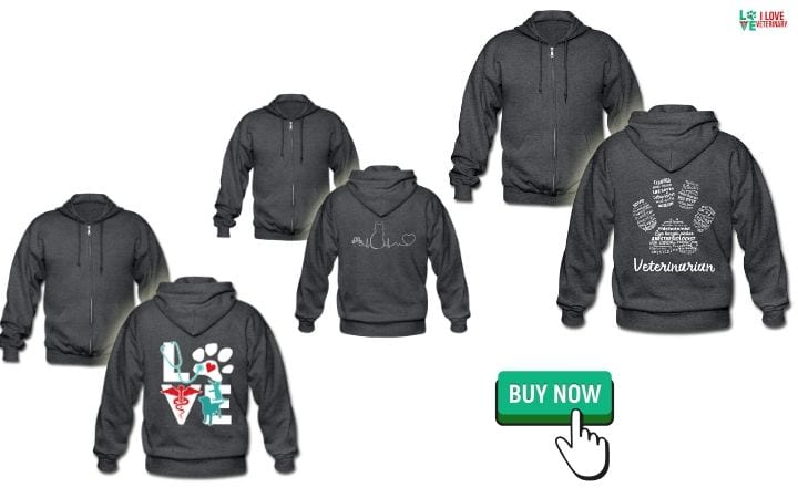 zip hoodies as graduation gifts for veterinary students by I Love Veterinary